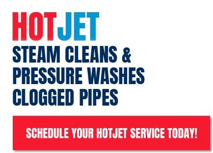 Hot jet steam cleans and pressure washes clogged pipes
